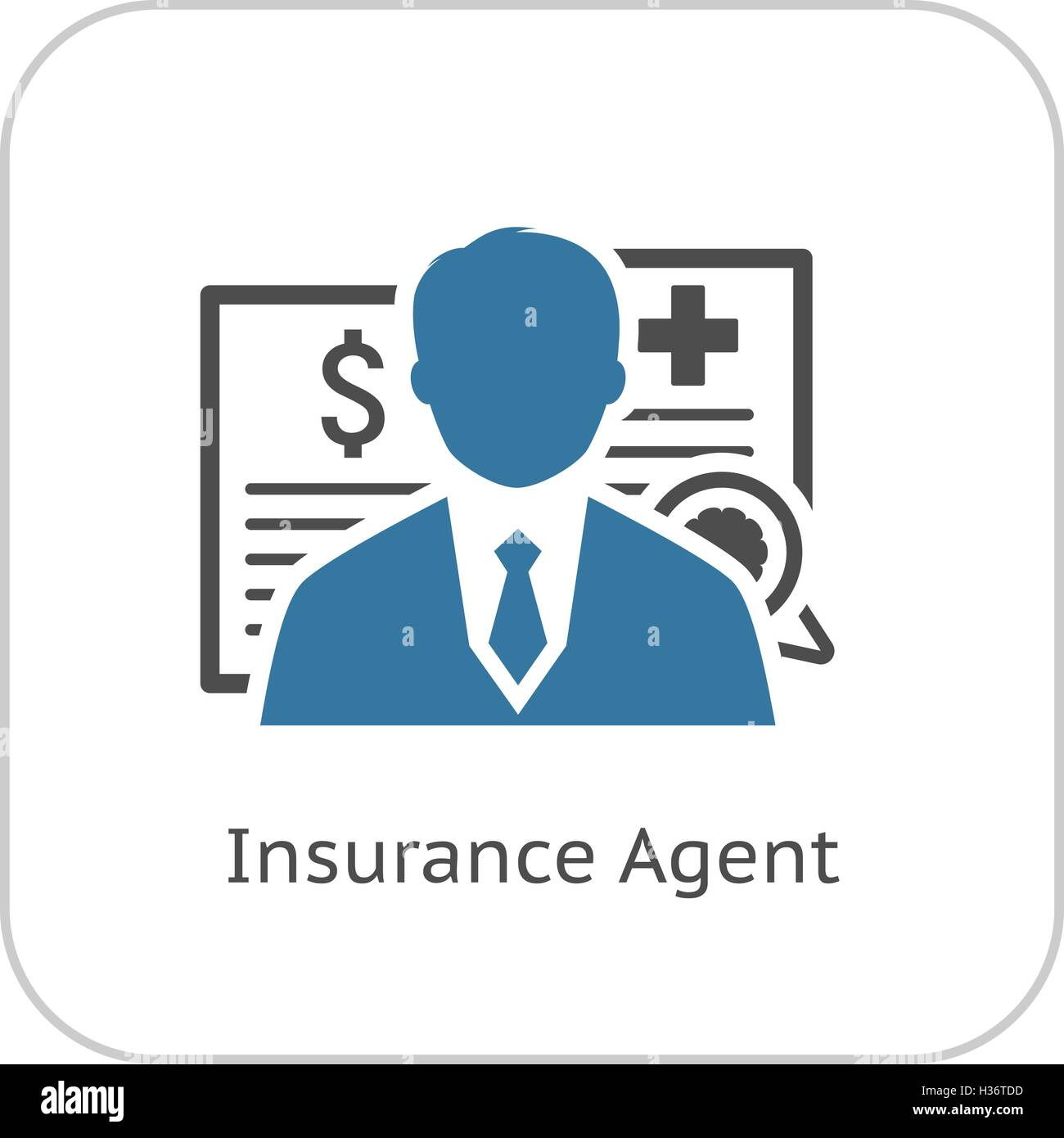 Insurance Agent Icon Flat Design Stock Vector Image Art Alamy