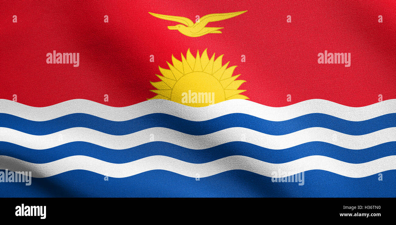 Kiribati national official flag. Patriotic symbol, banner, element, background. Accurate dimensions. Correct size, Stock Photo