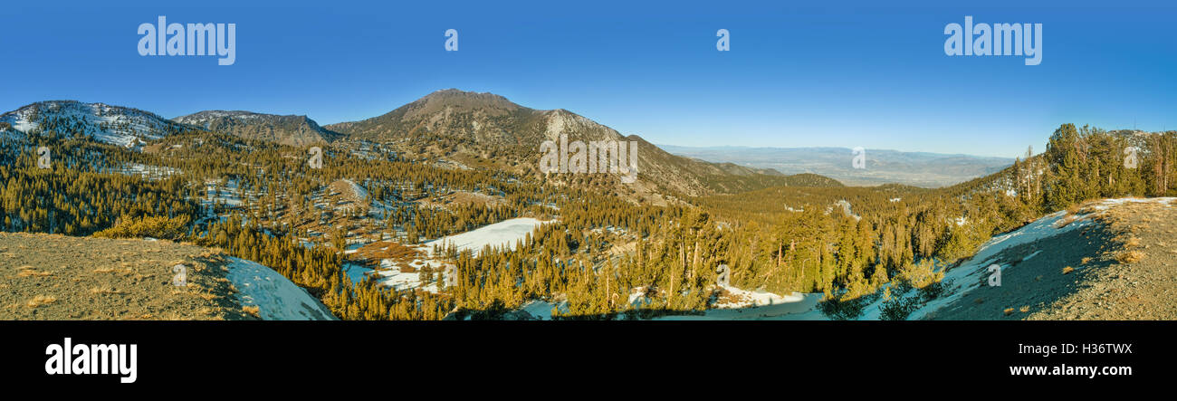 Panorama of Mt. Rose in winter. Mt. Rose is a mountain located near Lake Tahoe and few ski centers. Stock Photo