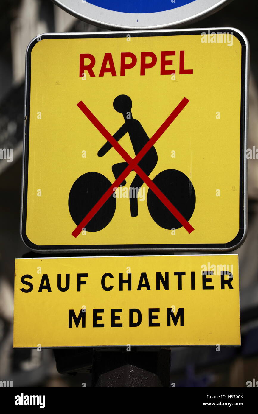 A No Bicycle sign on the street of.Paris.France - Stock Image
