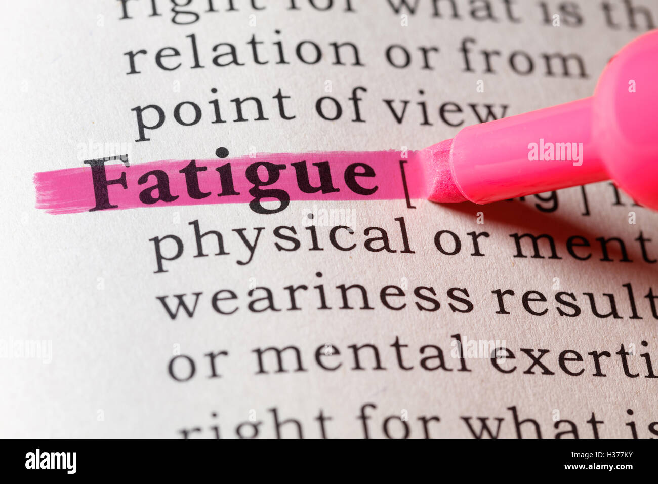 fake dictionary, dictionary definition of the word fatigue stock