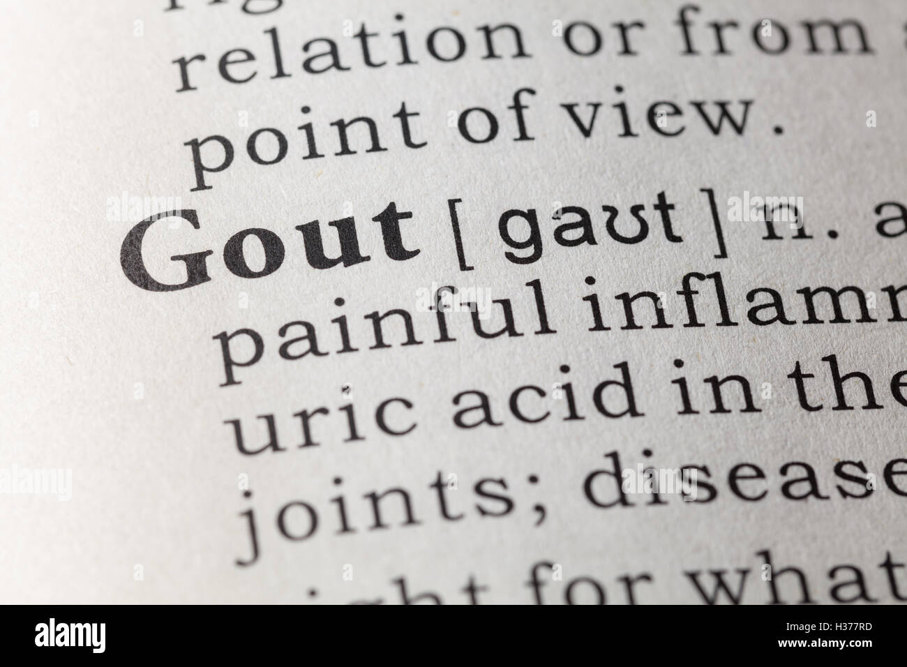 fake dictionary, dictionary definition of the word gout stock photo