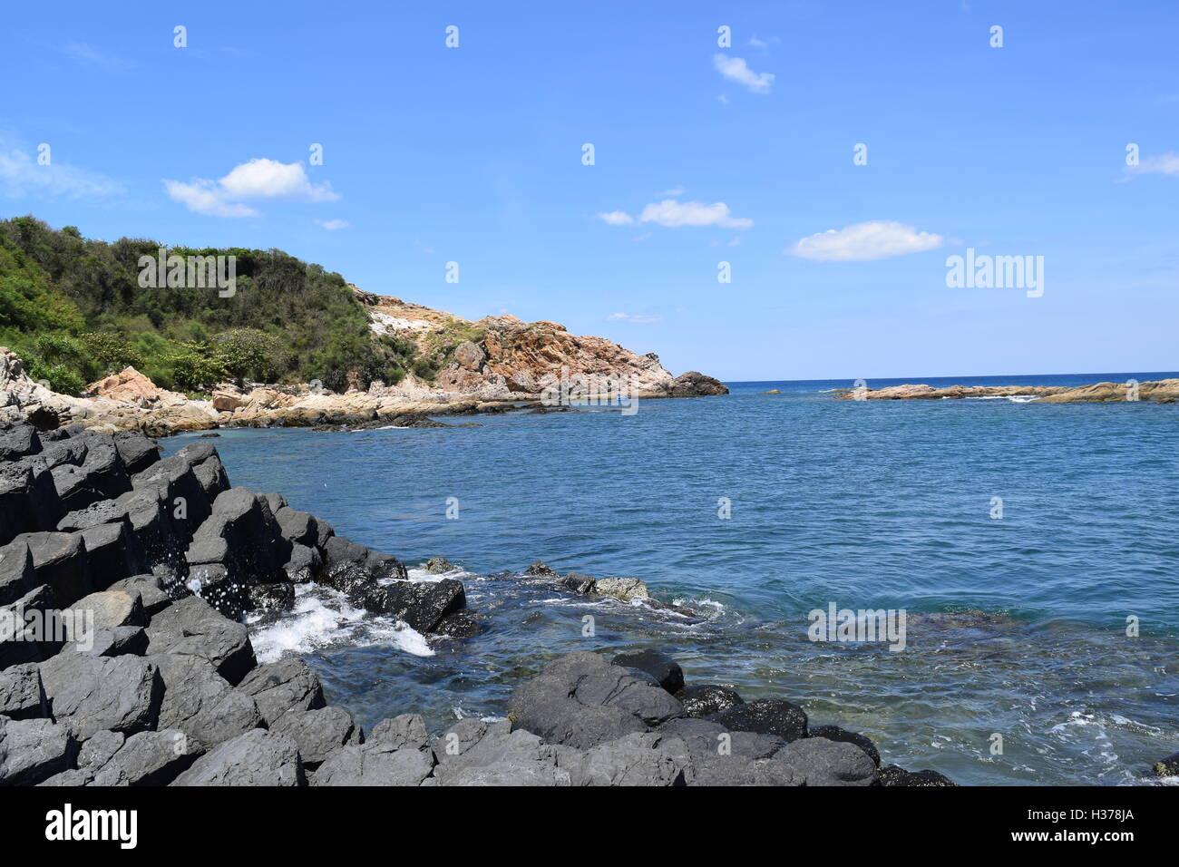 Vietnamese natural heritage Ganh Da Dia sea with amazing basalt causeway shape in Tuy Hoa, Phu Yen - Stock Image
