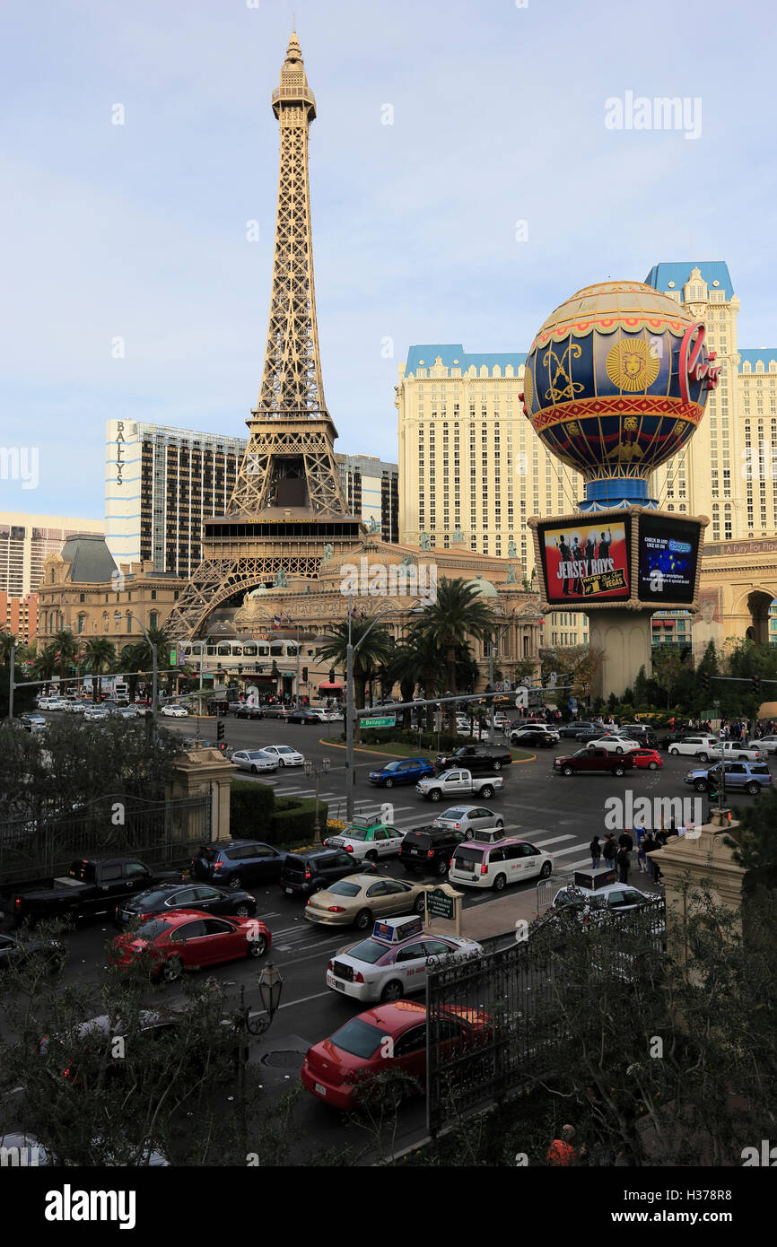 The view of hot air balloon and Eiffel Tower of Paris Hotel and Casino.Las Vegas, Nevada,USA - Stock Image