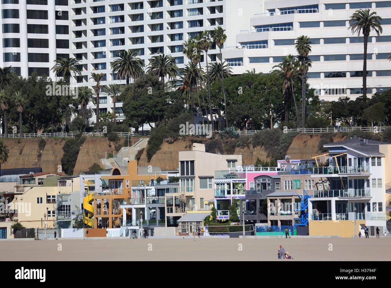 Houses And Apartment Buildings On Santa Monica Beach Santa Stock