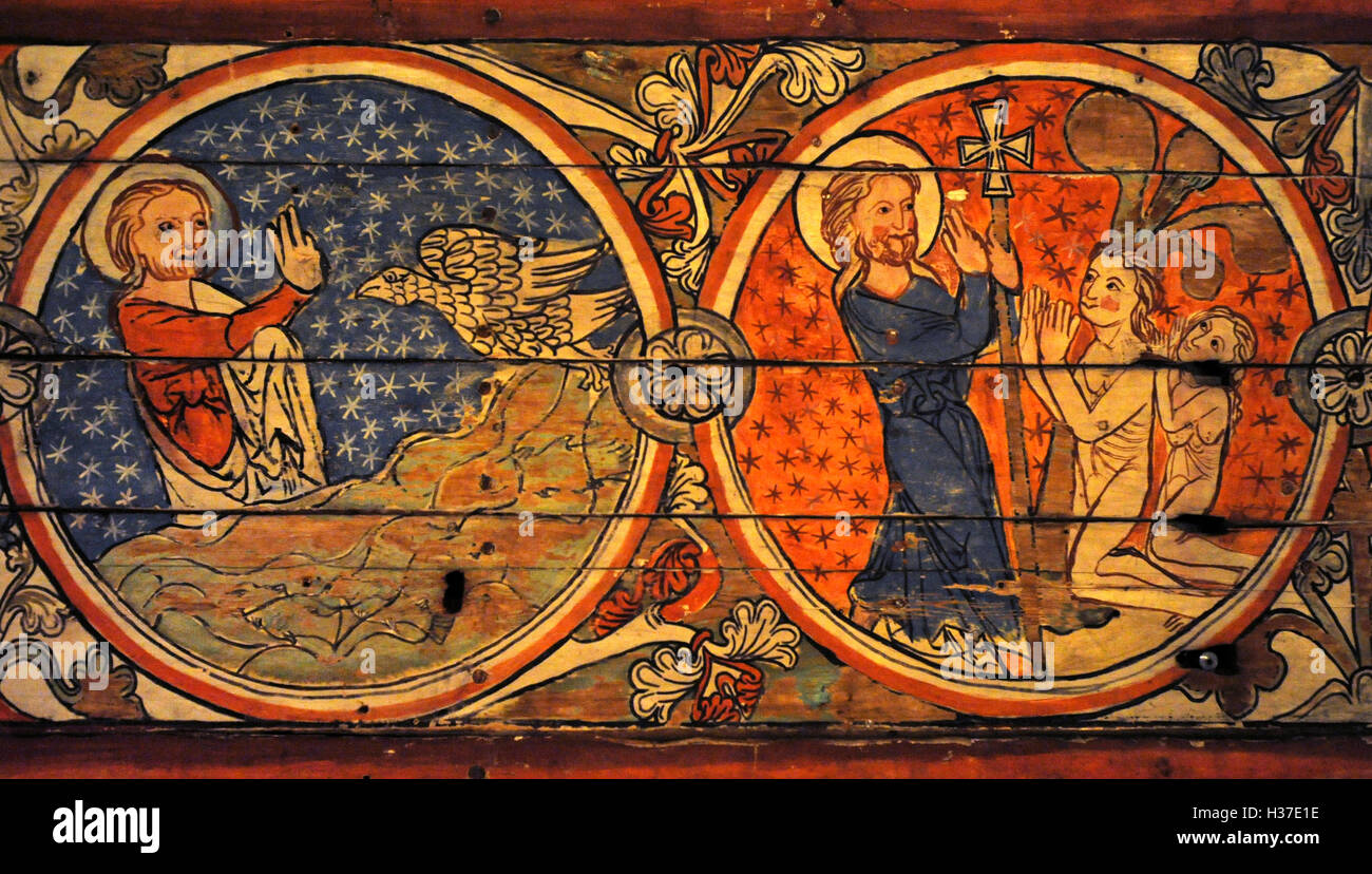Norway. Al, Hallingdal. Painting of stave church. Medieval. 13th century. Detail. Creation. Historical Museum. Oslo. - Stock Image