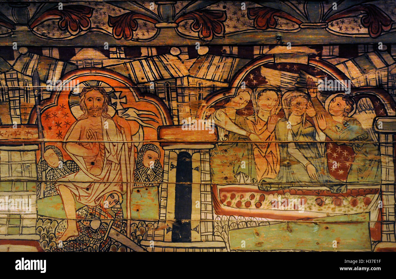Norway. Al, Hallingdal. Painting of stave church. Medieval. 13th century. Life of Christ: Resurrection and the women - Stock Image