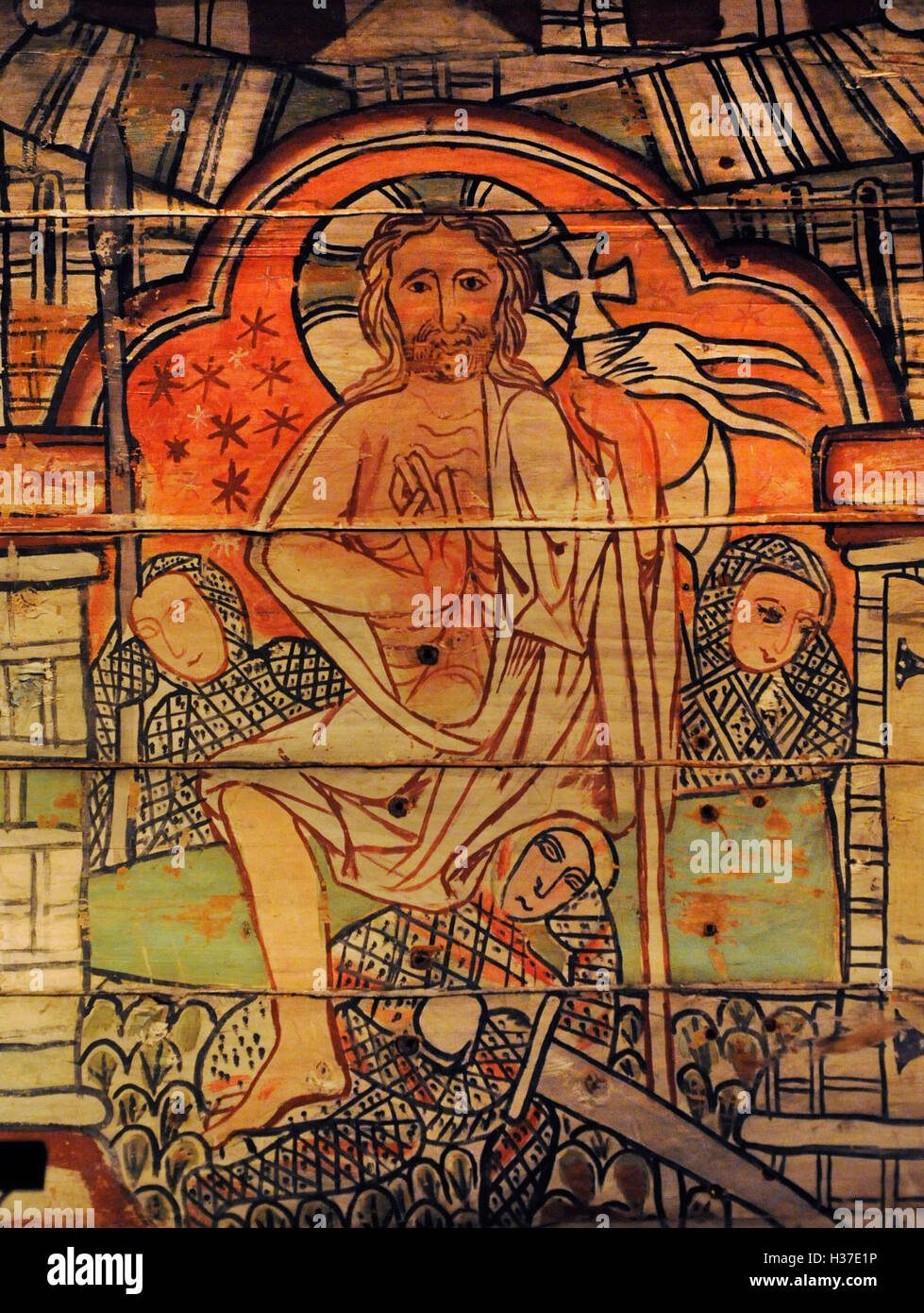 Norway. Al, Hallingdal. Painting of stave church. Medieval. 13th century. Life of Christ. Resurrection. Historical - Stock Image