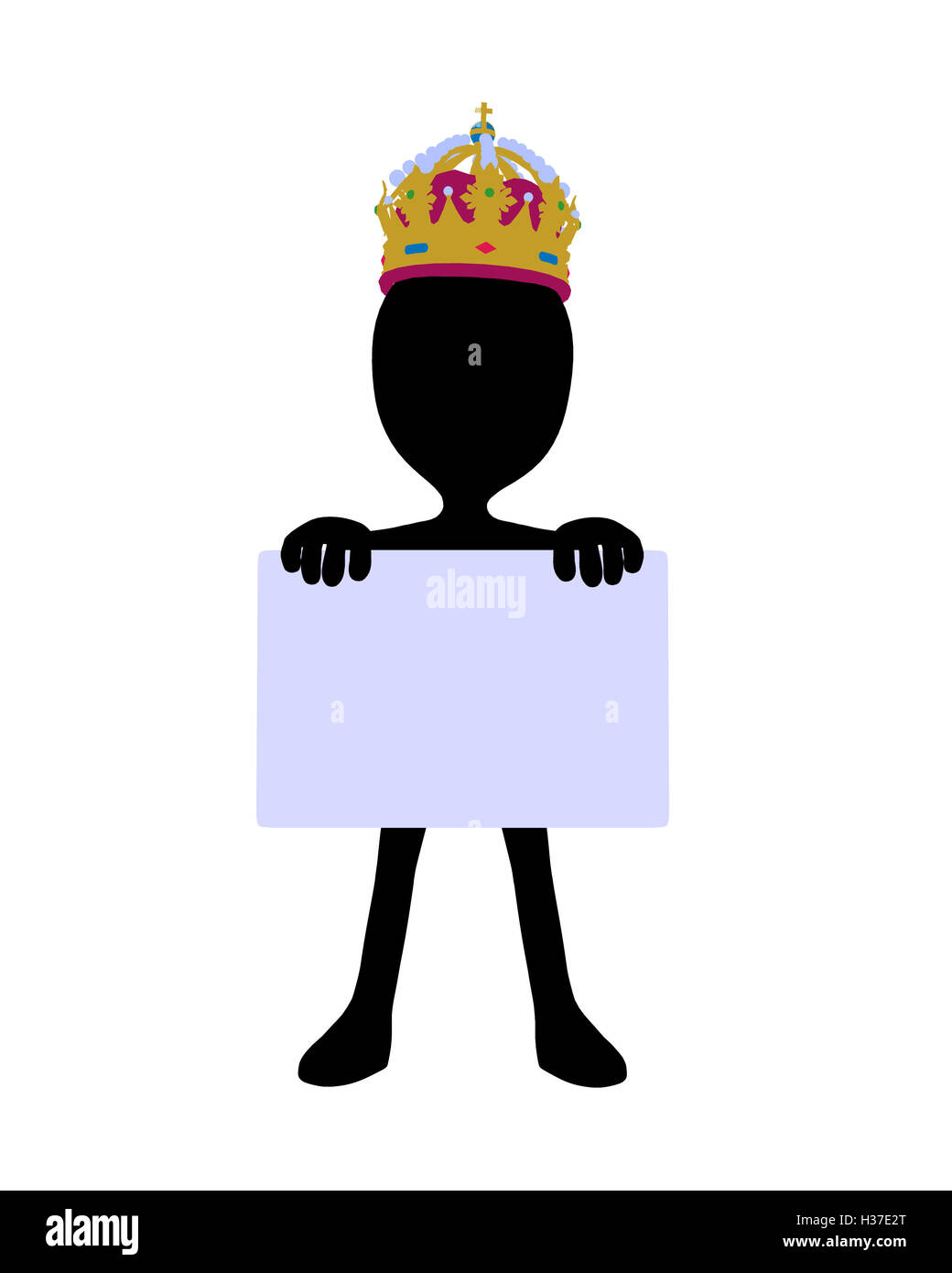 Cute Black Silhouette King Guy Holding a Blank Business Card Stock ...