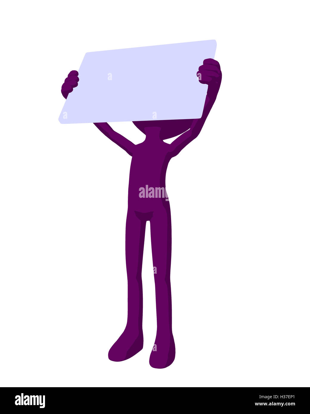 Cute Purple Silhouette Guy Holding a Blank Business Card Stock Photo ...
