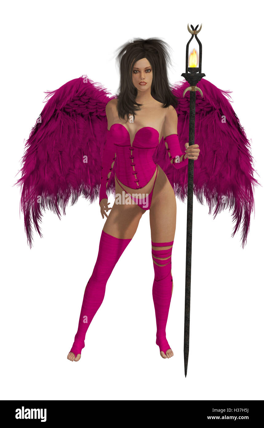 Pink Winged Angel With Dark Hair - Stock Image