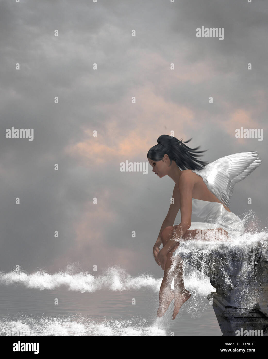 Angel On Water - Stock Image