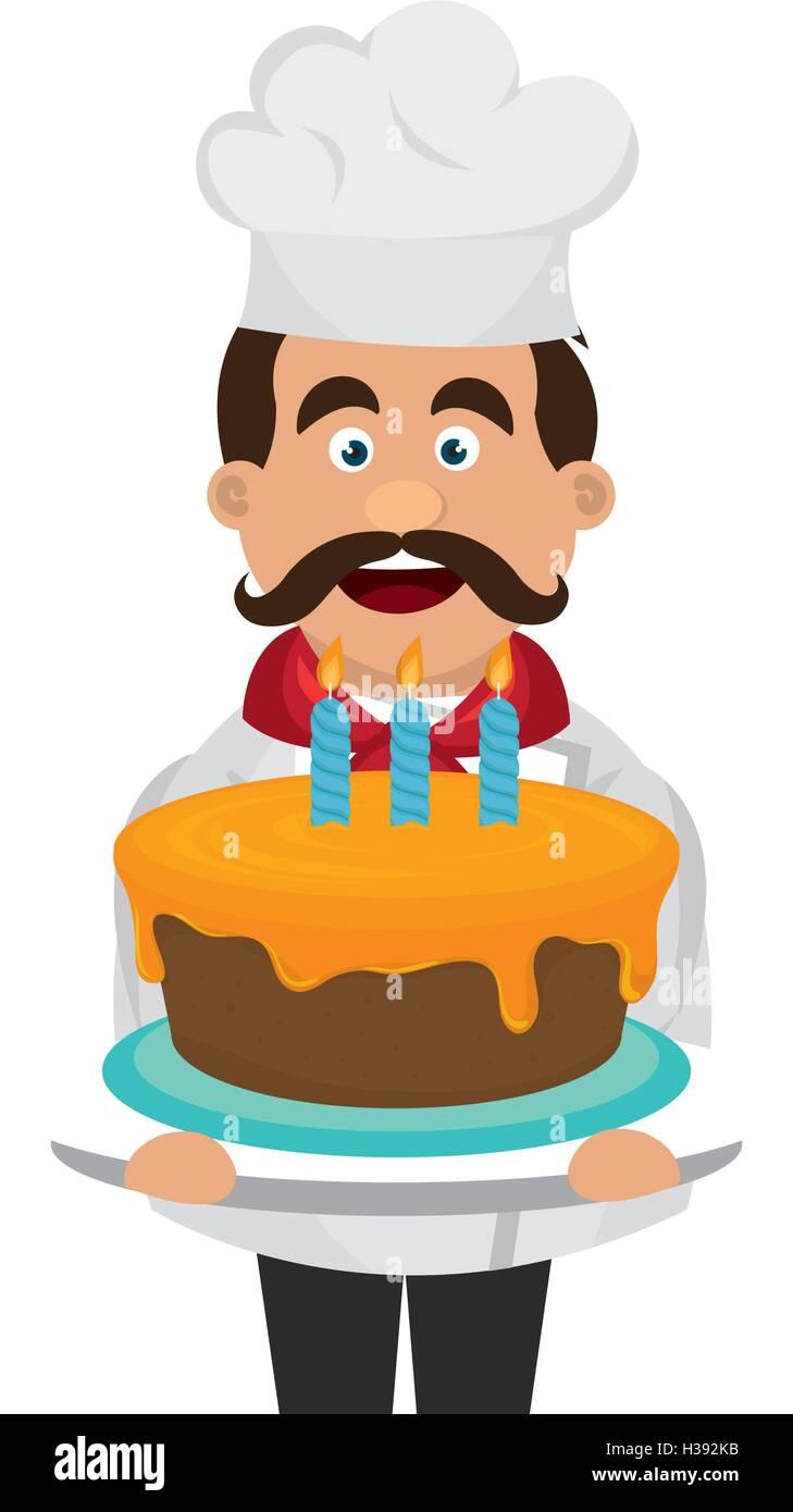 Fabulous Bakery Chef With Cake Stock Vector Art Illustration Vector Funny Birthday Cards Online Hetedamsfinfo