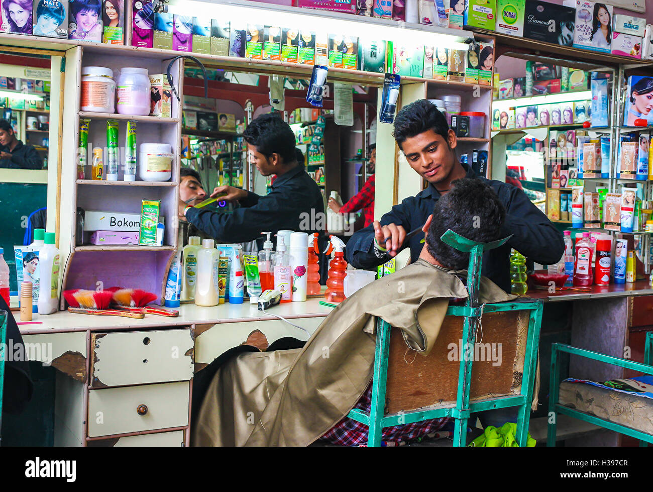 The barber shop in India Stock Photo