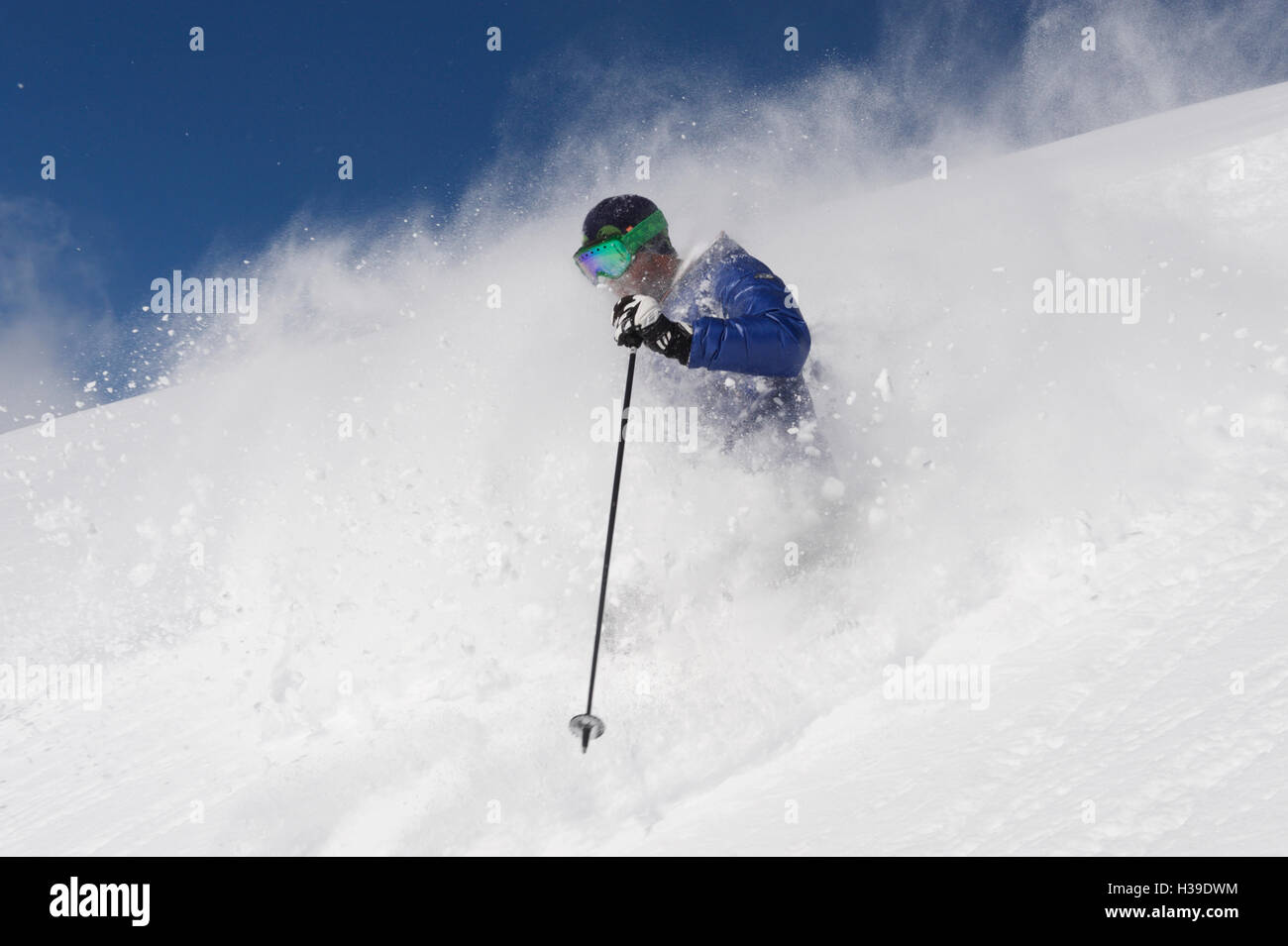 Freeride skiing in deep powder - Stock Image