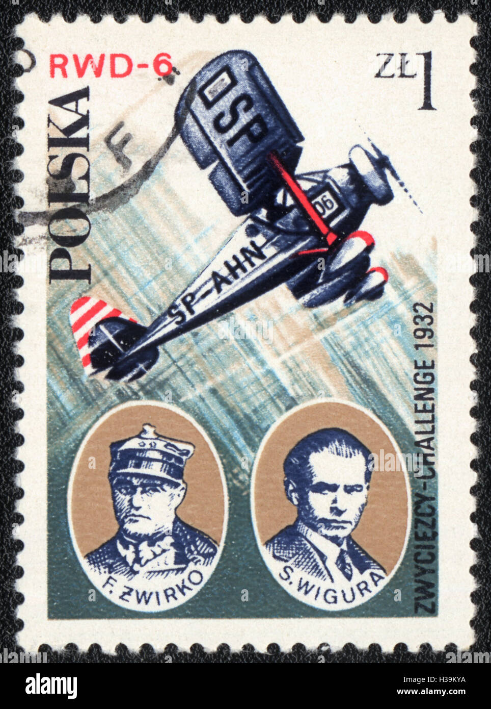 A postage stamp printed in Poland from the 'Aviation History and 50th Anniversary of Polish Aero Club', - Stock Image