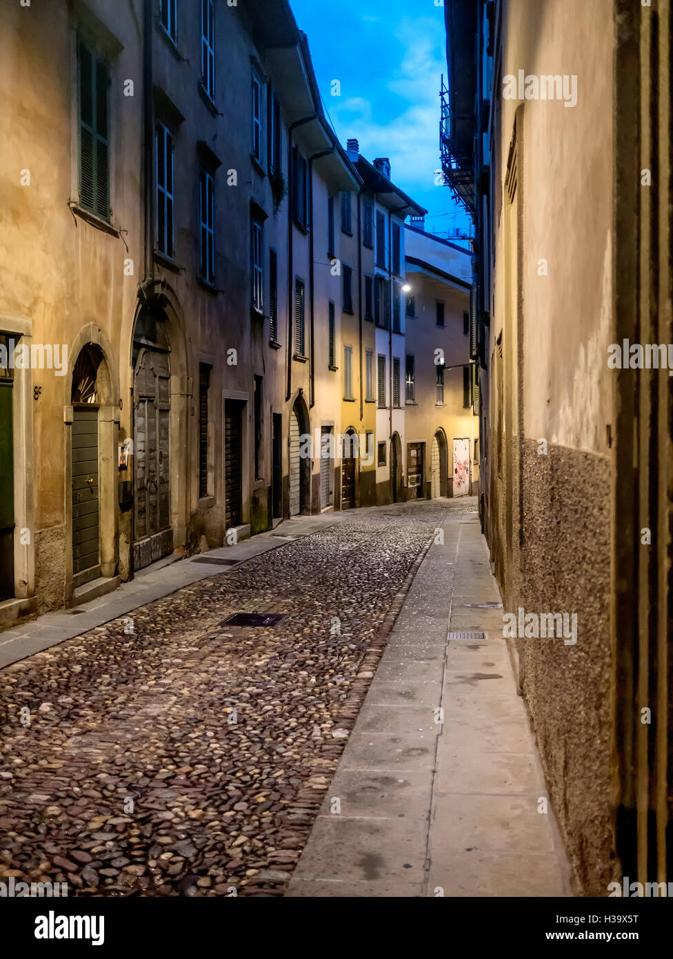 Street at night in Old Town of Bergamo, Italy Stock Photo