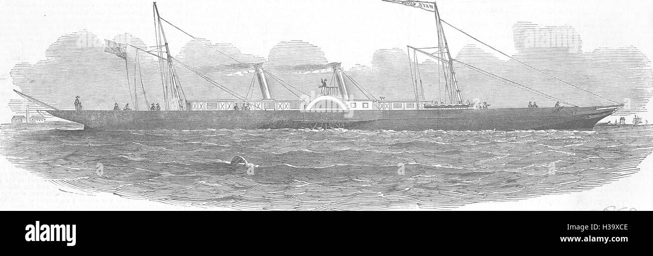 ROYALTY The Wave Queen steamer 1852. Illustrated London News - Stock Image