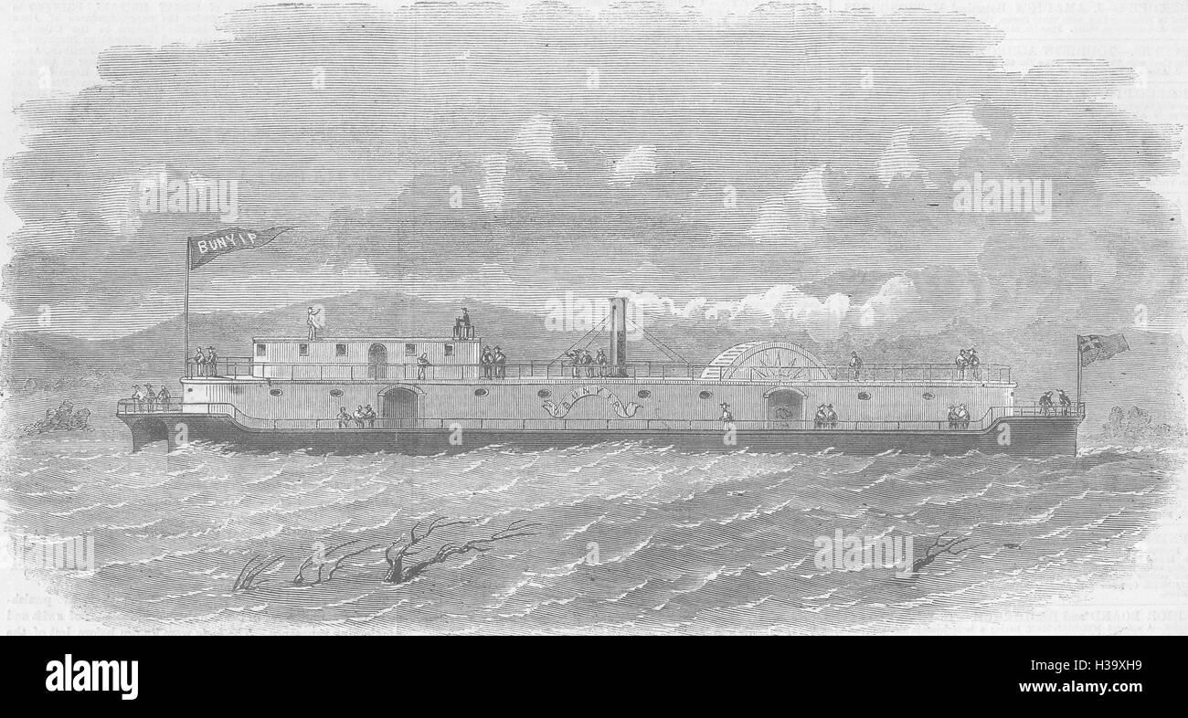 SHIPS Australian twin ship Bunyip 1858. Illustrated London News - Stock Image