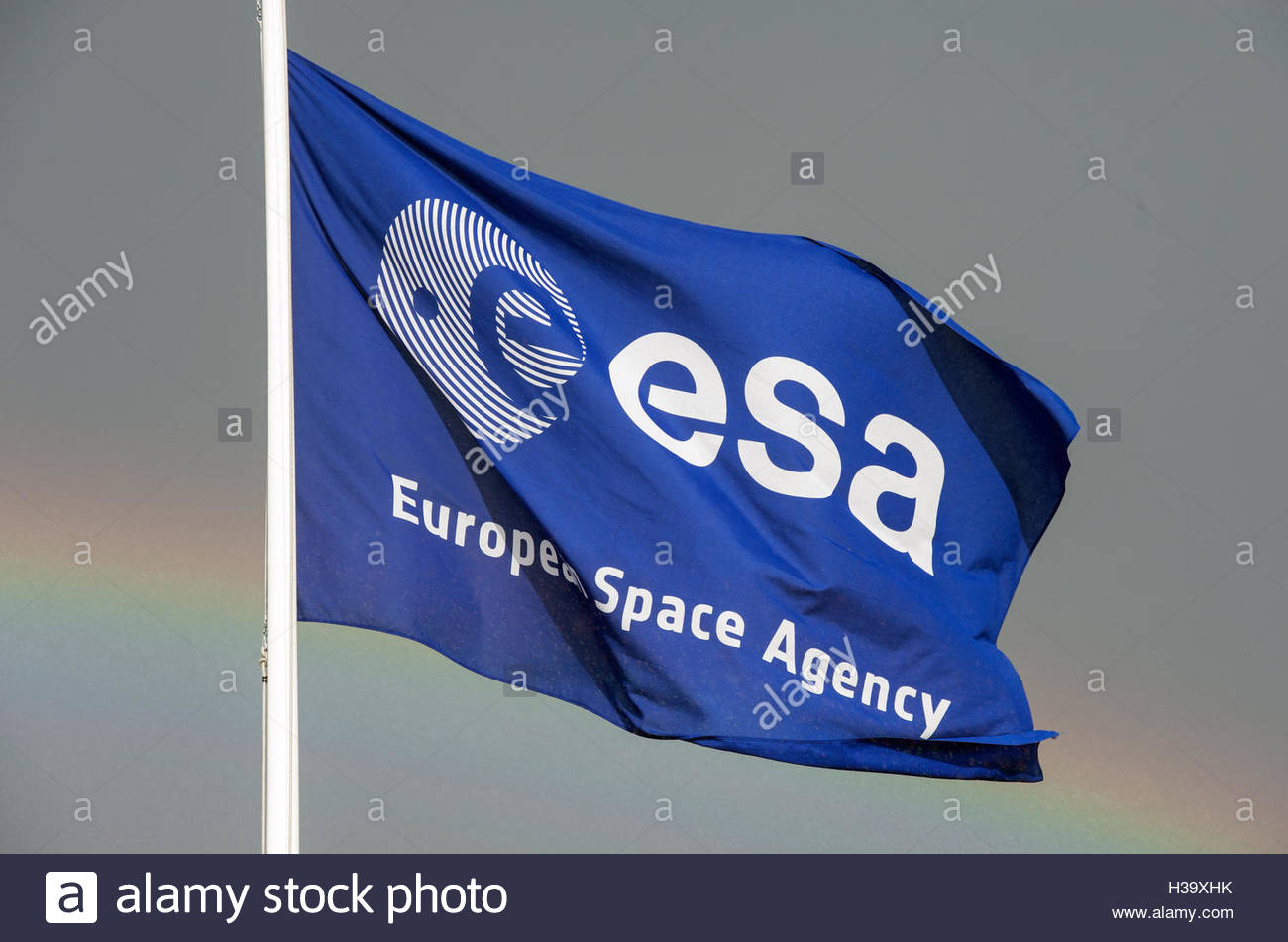 Noordwijk The Netherlands 2nd October 2016 Weekend van de Wetenschap ESTEC Open day ESA flag and rainbow - Stock Image