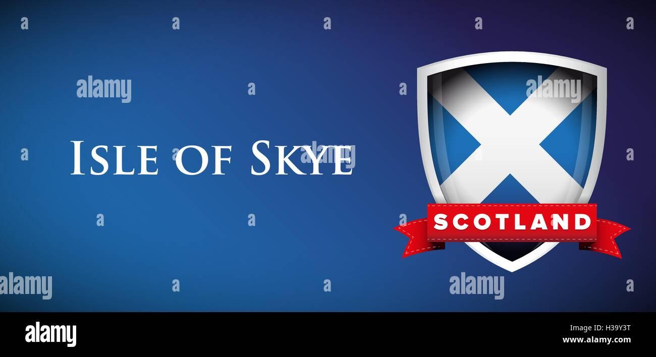 Scotland Flag with Isle of Skye sign - Stock Vector