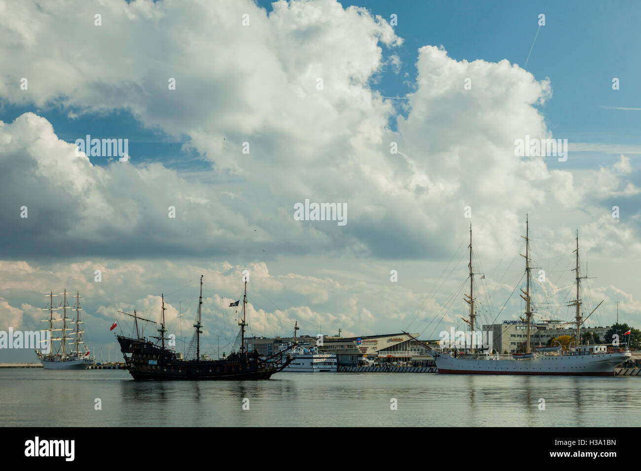 Sailing ships in Gdynia seaport, Poland. - Stock Image
