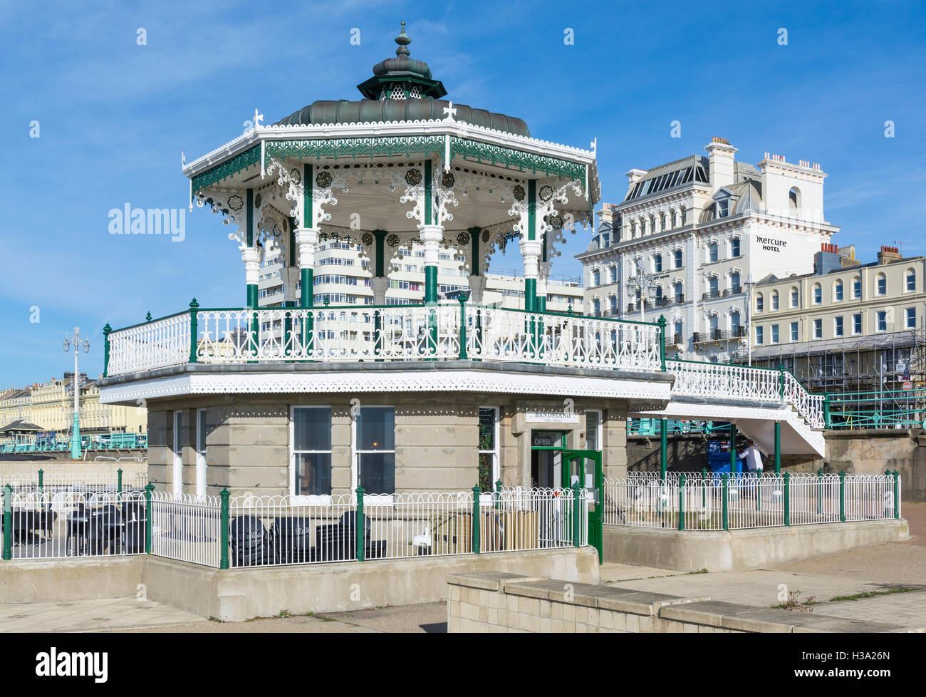 The Bandstand at Brighton on the seafront after restoration, in Brighton, East Sussex, England, UK. - Stock Image