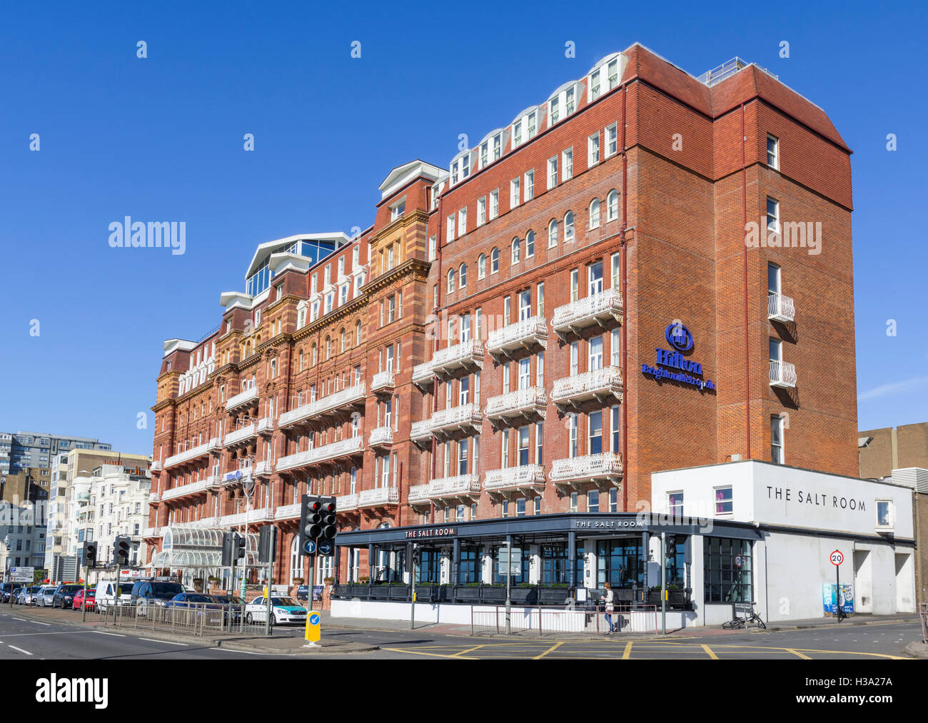 Hilton Brighton Metropole.hotel, a Victorian hotel near the seafront in Brighton, East Sussex, England, UK. - Stock Image