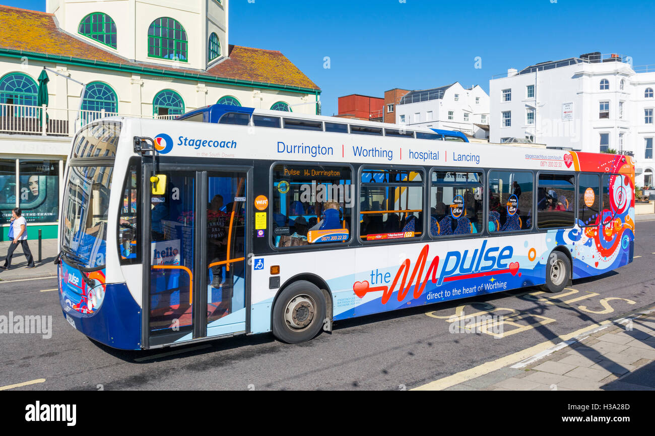 A single decker Stagecoach Pulse bus in Worthing, West Sussex, England, UK. Pulse bus. Stagecoach bus. - Stock Image