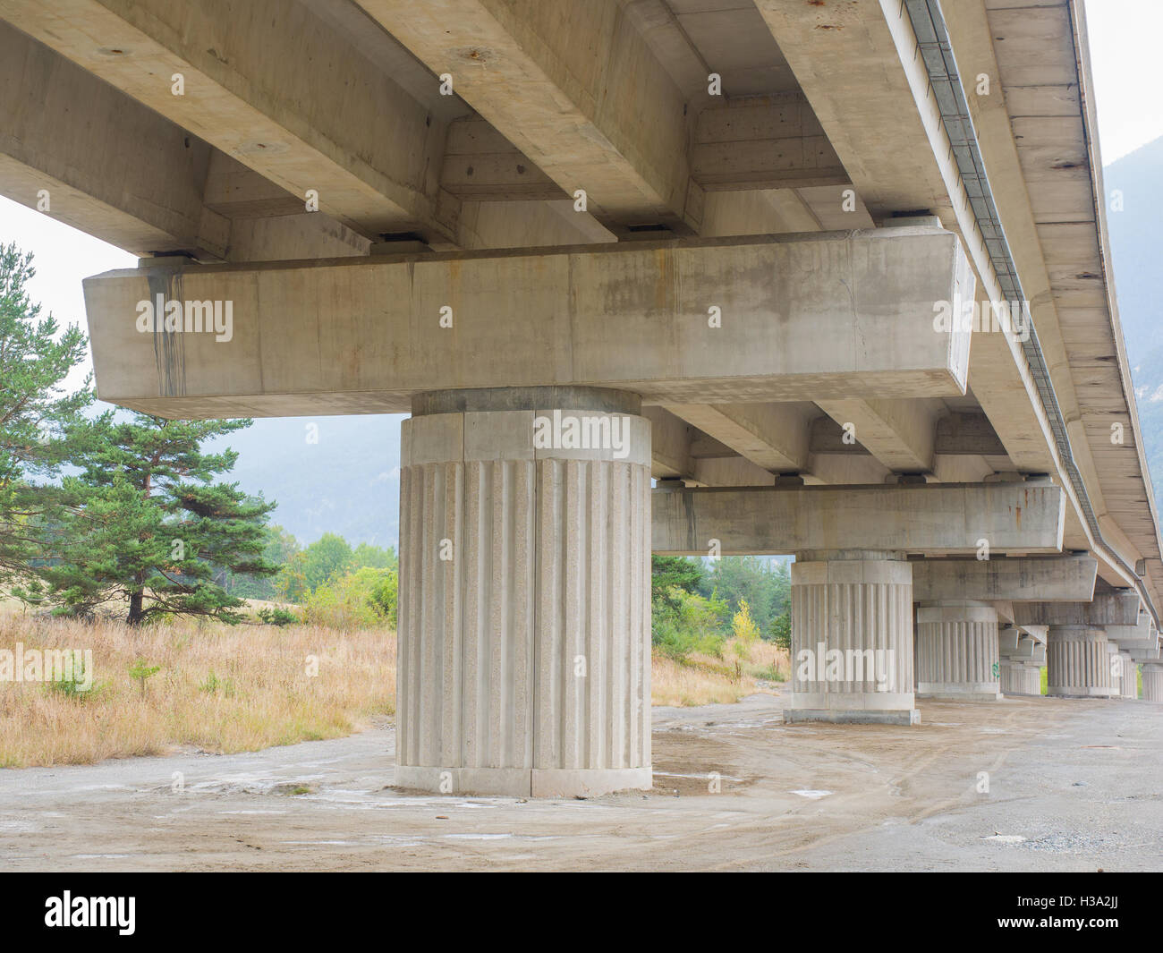 pillars and beams of  a motorway bridge (viaduct) made of reinforced concrete - Stock Image