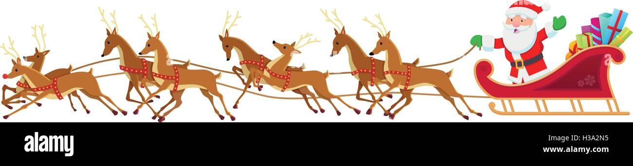 santa sleigh and reindeer stock vector art illustration vector