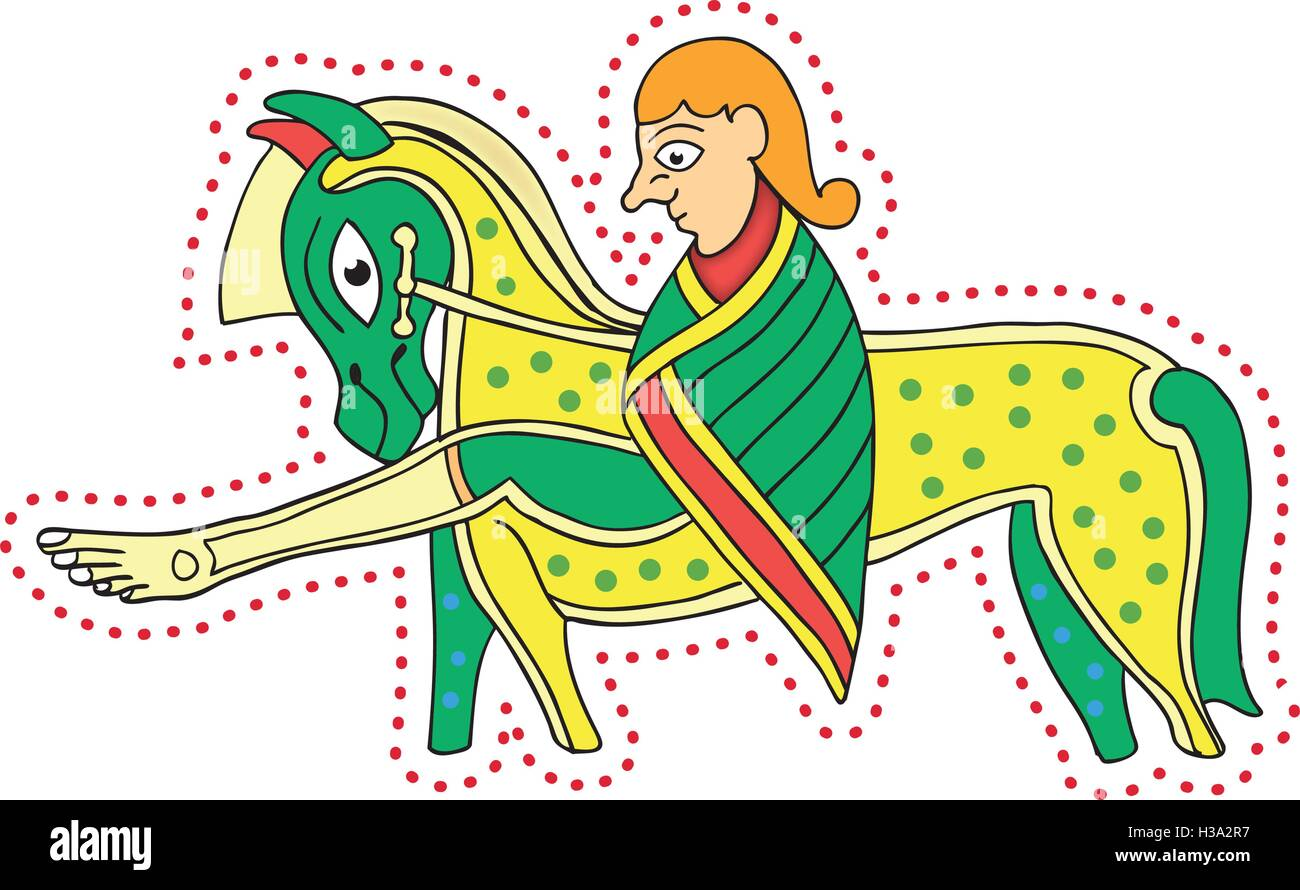Book of Kells Man and Horse - Stock Vector