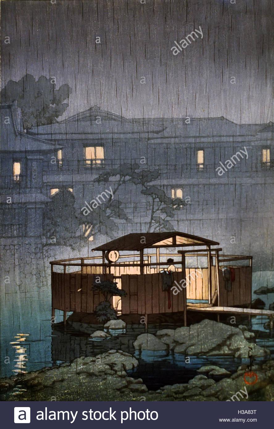 Rain in Shuzenji 1933 Kawase Hasui ( 1883 - 1957  Japan ( color woodcut on paper  ) - Stock Image
