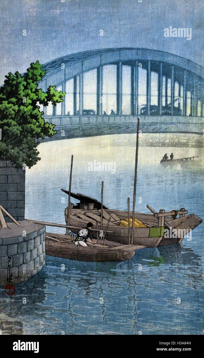 Eitaibashi Bridge 1937  Kawase Hasui  Japan ( color woodcut on paper  ) Stock Photo
