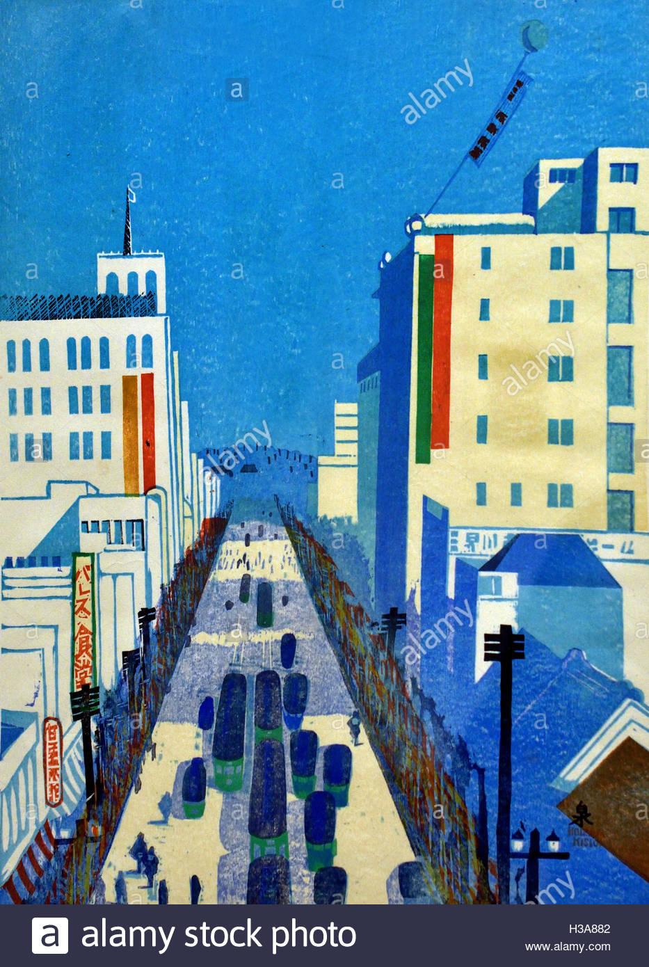 Tokyo in the Shōwa Era' 1935 Koizumi Kishio Japan ( color woodcut on paper  ) - Stock Image
