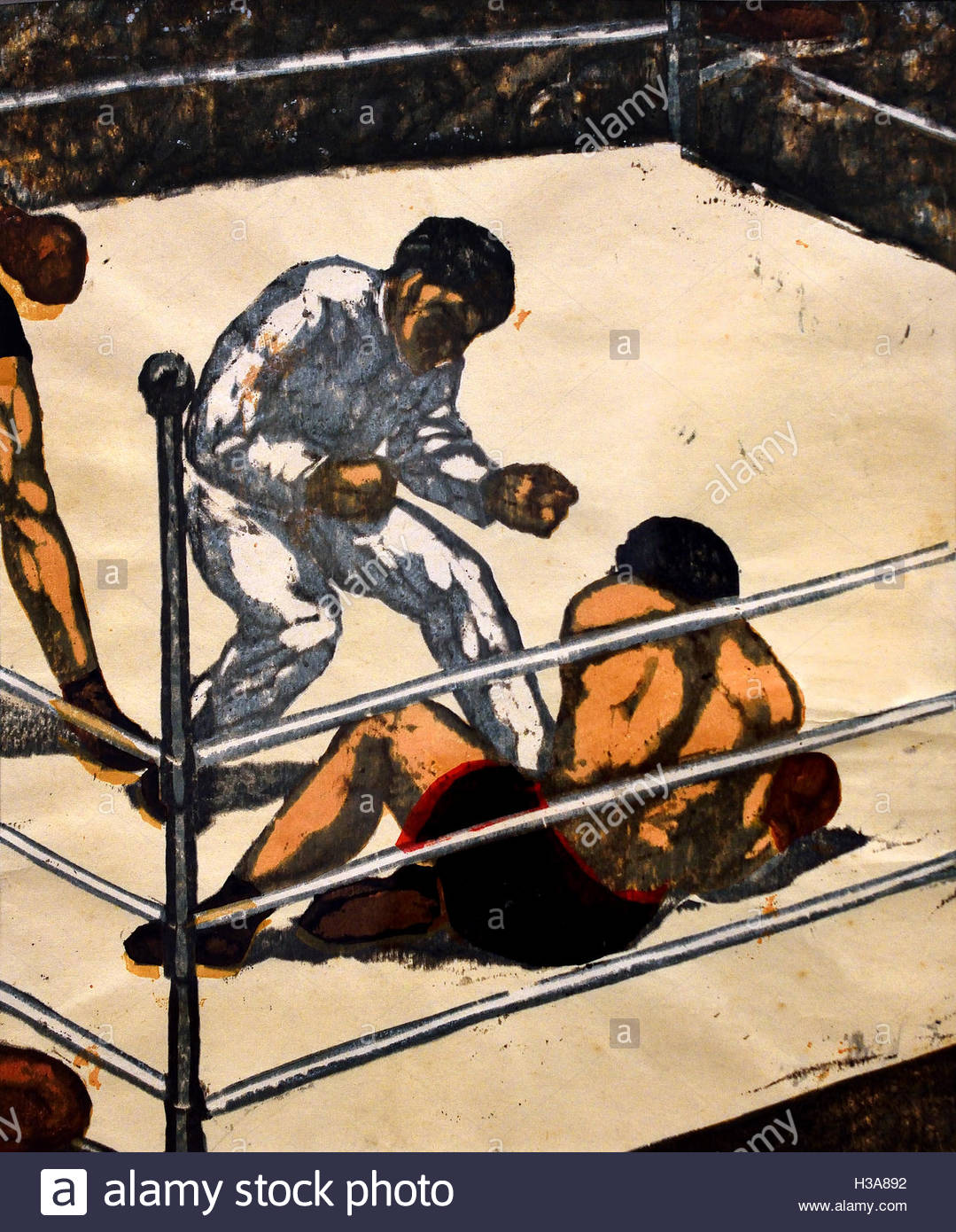 Knock Down ( Boxing -  Boxer ) Onchi Koshiro  Japan ( color woodcut on paper  ) - Stock Image