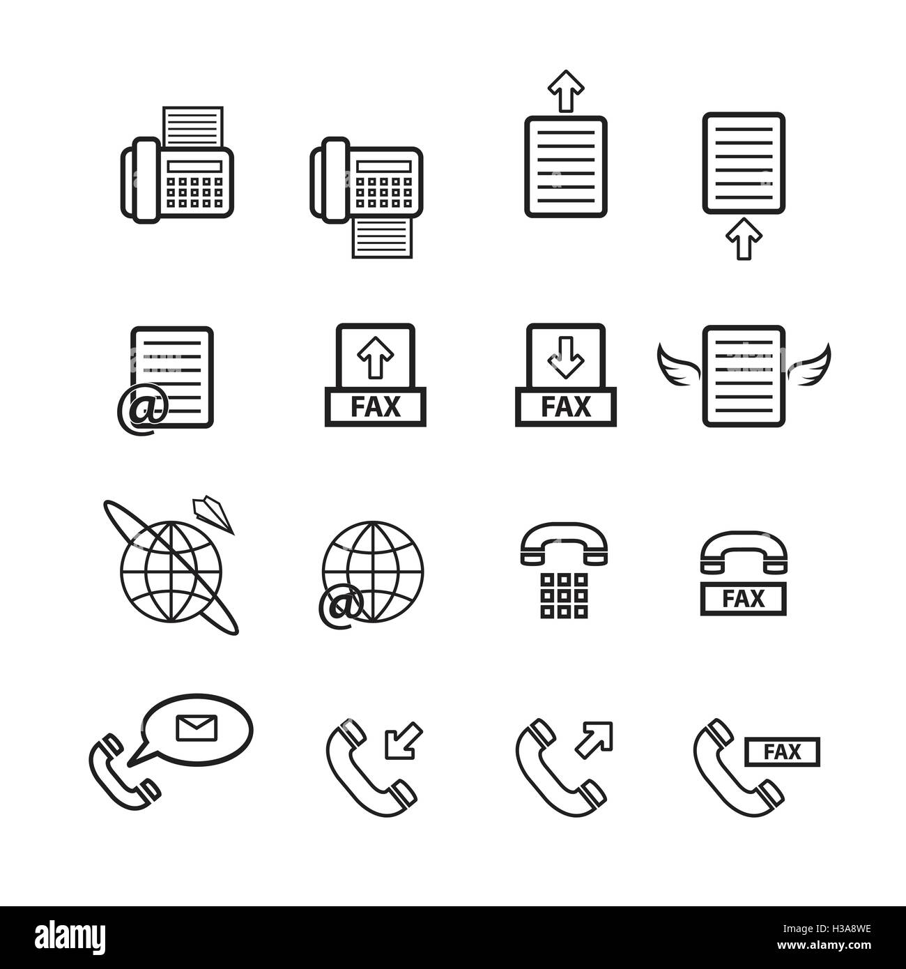 Fax vector, icon set - Stock Image