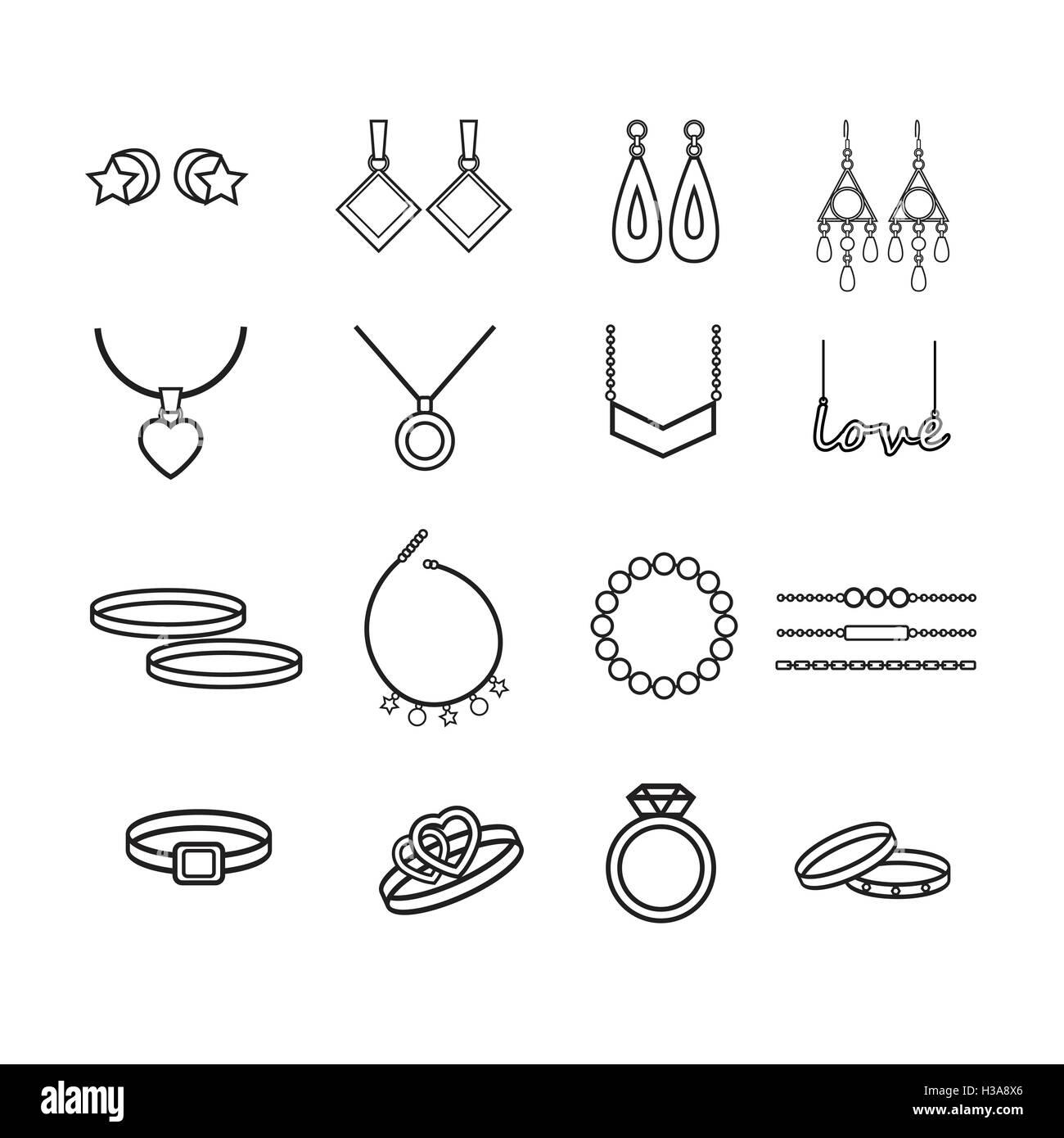 Jewelry vector set - Stock Image