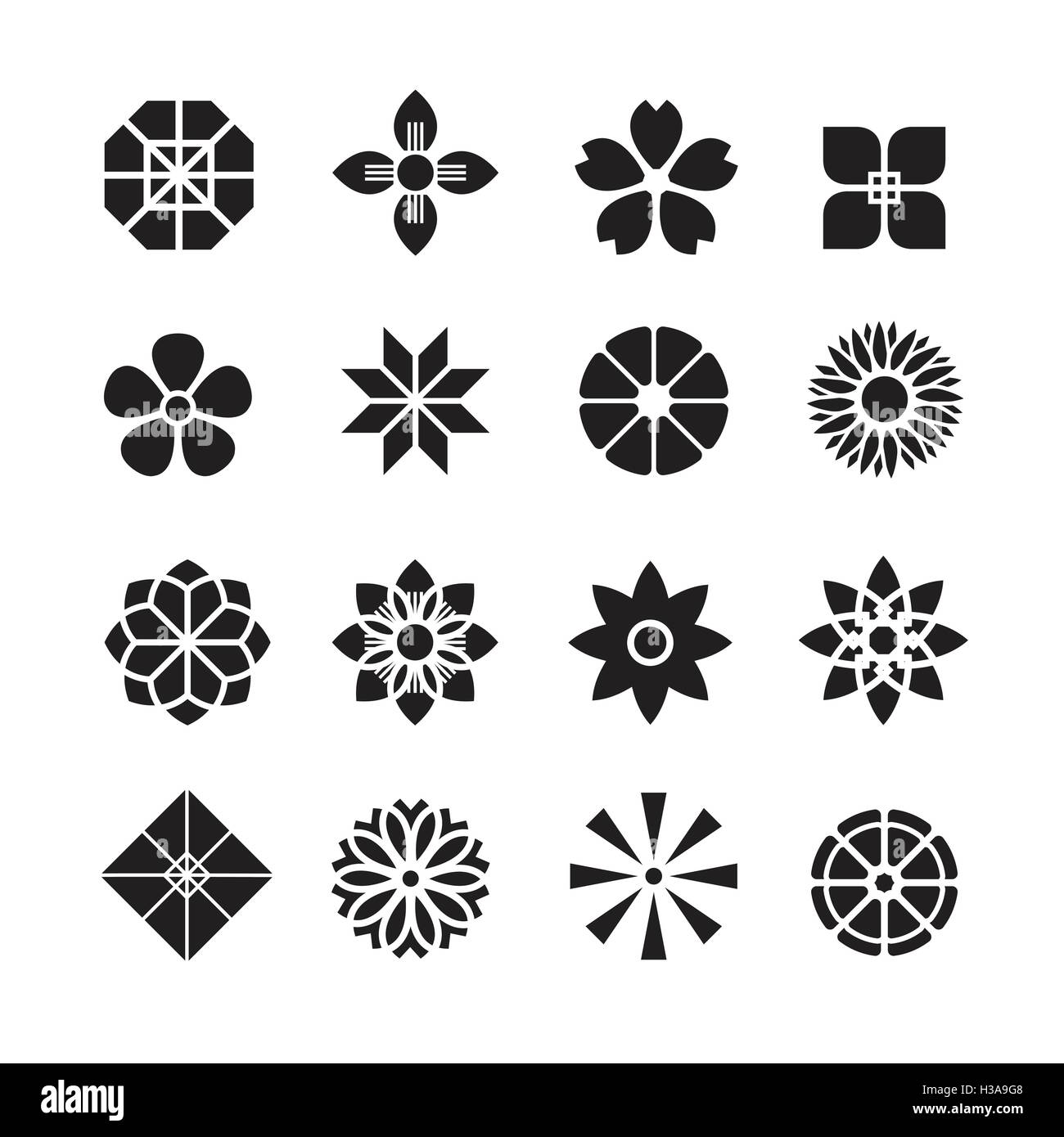 Flowers ornament icon,vector set Stock Vector