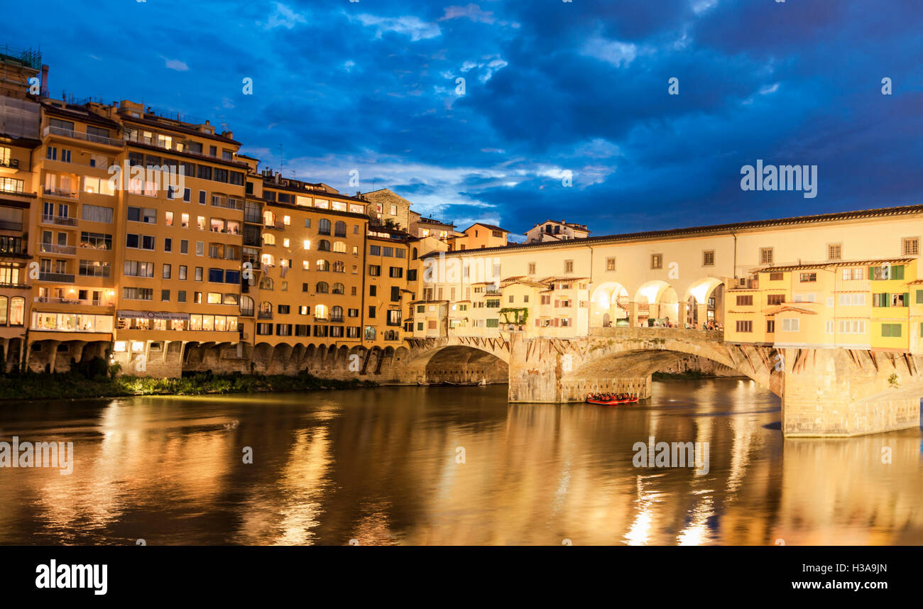 View at Bridge Ponte Vecchio by night in Florence, Italy - Stock Image