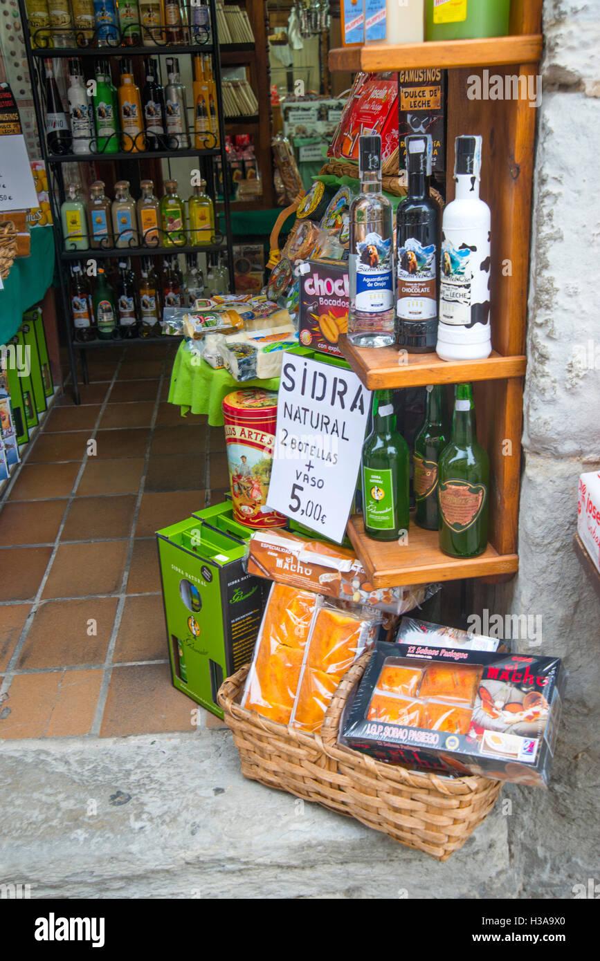 Typical products in a corner shop. Santillana del Mar, Cantabria, Spain. Stock Photo