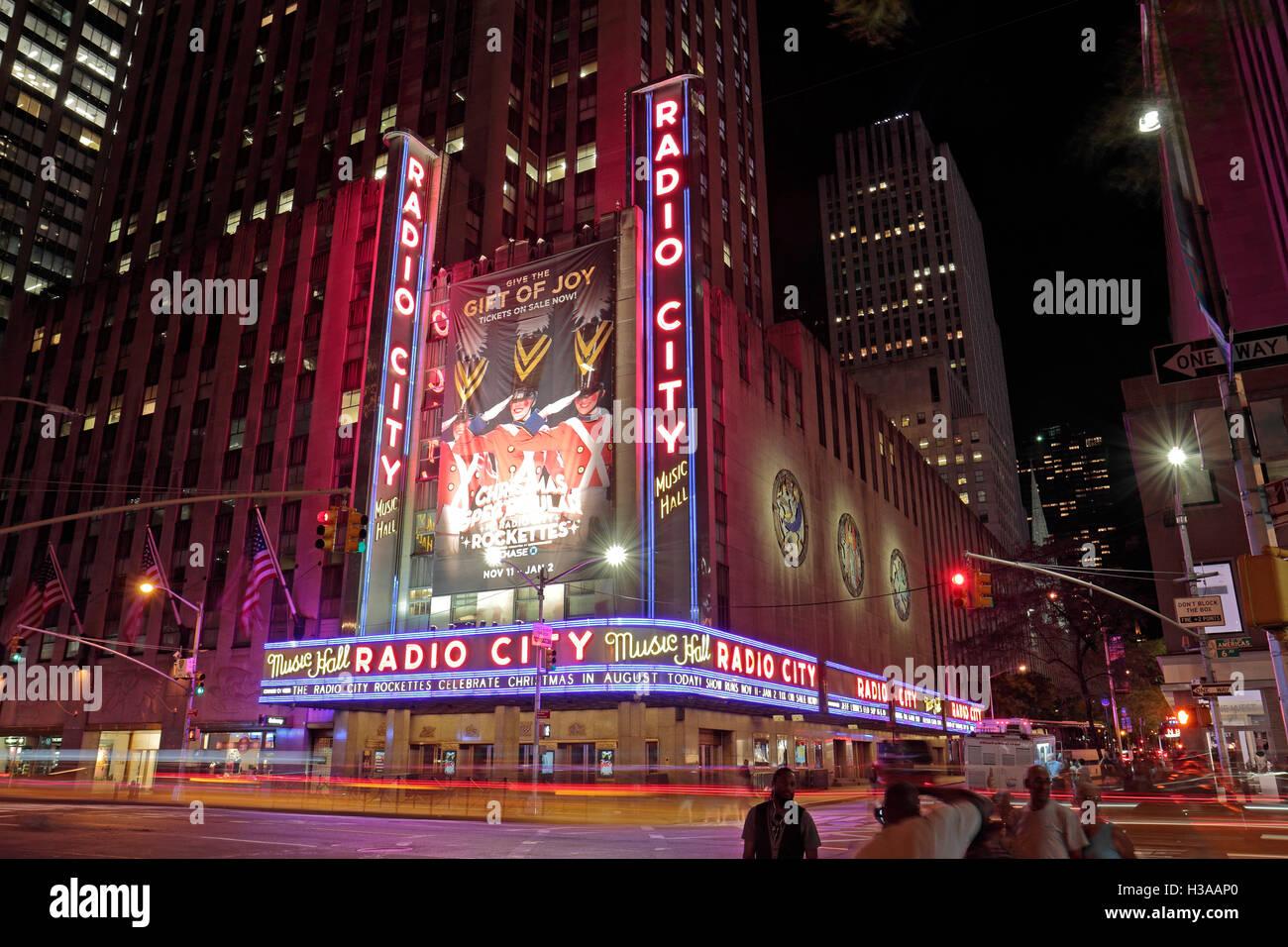 The Radio City Music Hall at night, New York City, United States. - Stock Image
