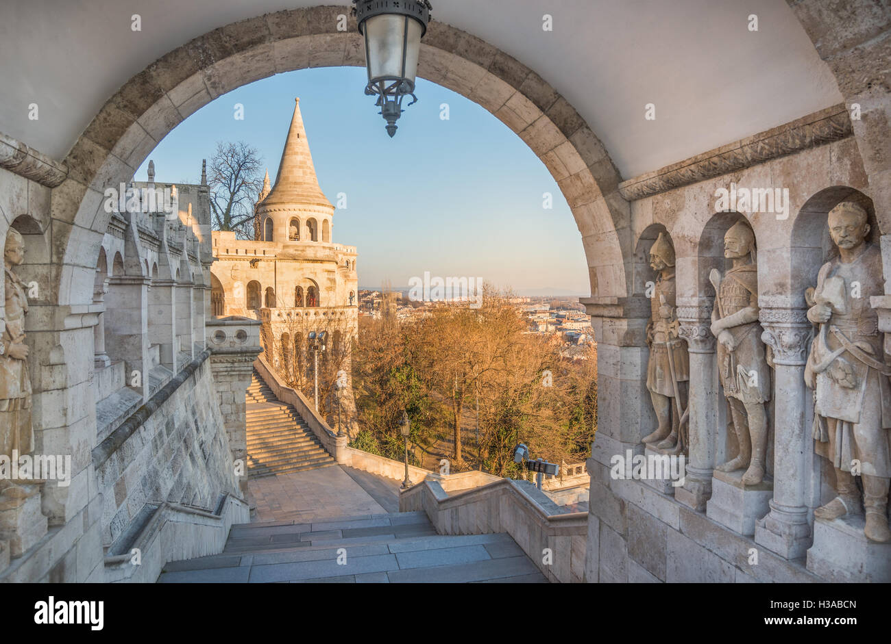 Panoramic View of Budapest and the Danube River as Seen from Gellert Hill Lookout Point - Stock Image