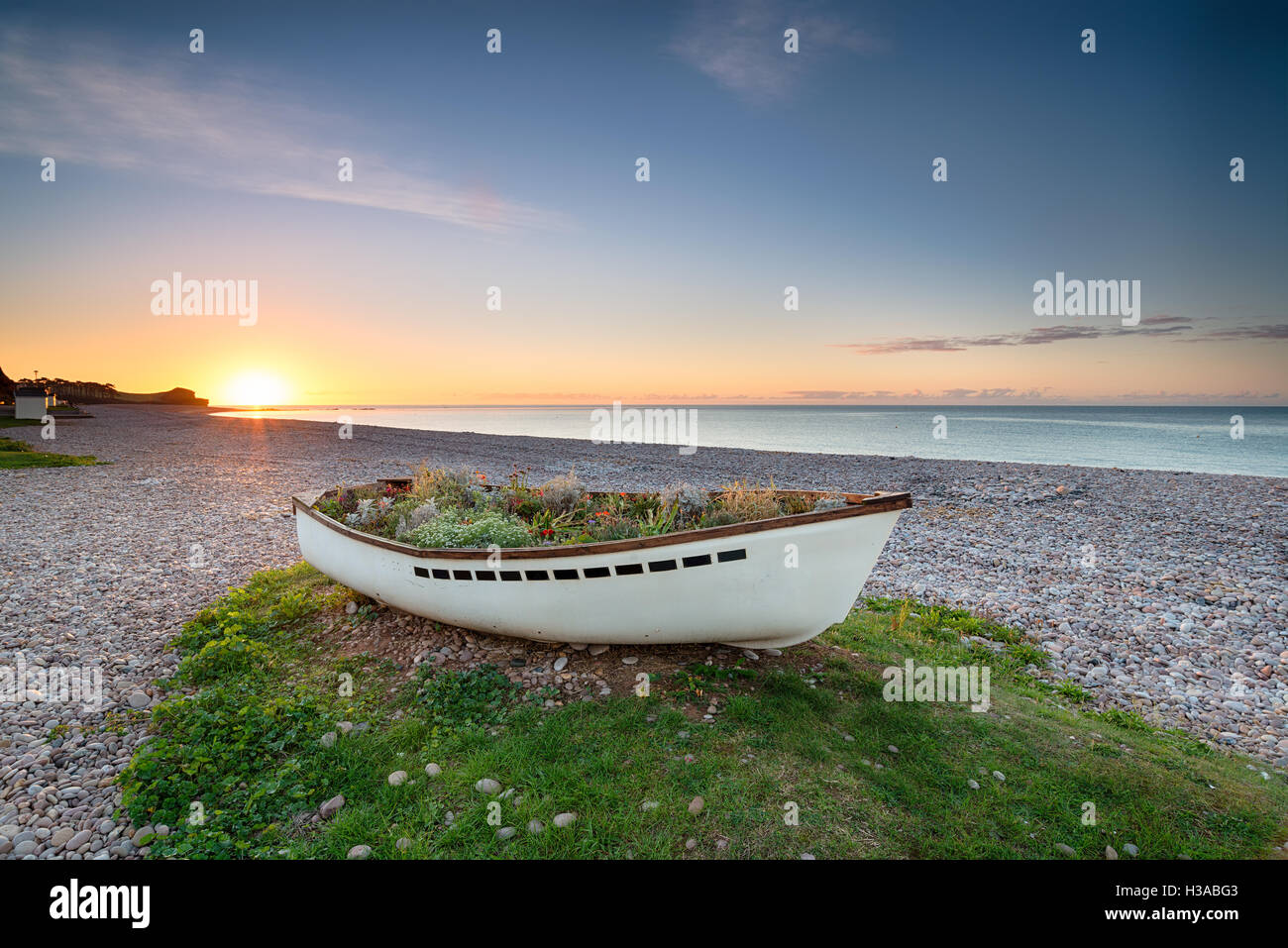 The beach at Budleigh Salterton on the Devon coast - Stock Image