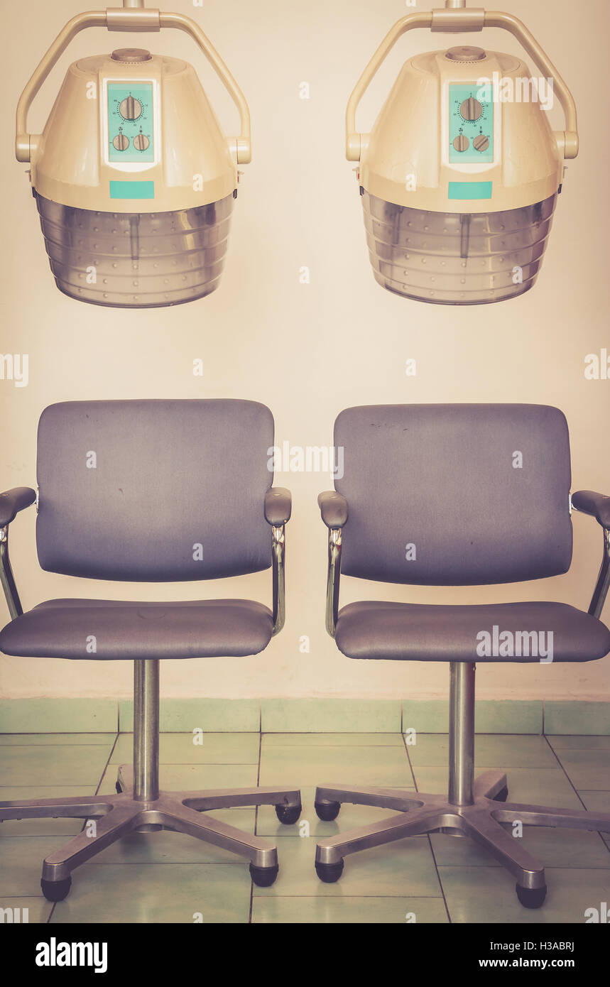 Beauty salon interior - Hairdressing accessories and appliances - Climazon for colouring, bleaching, perming and - Stock Image