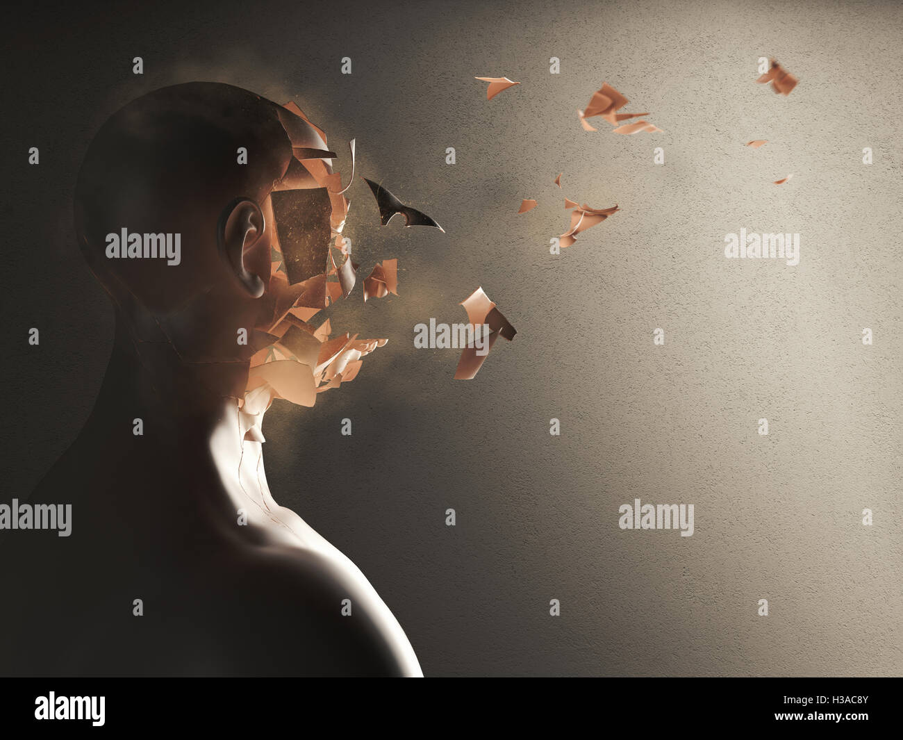 Disintegration of the soul. 3D Rendering - Stock Image