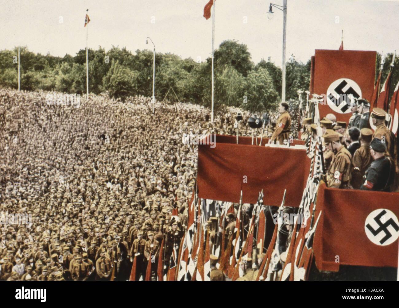 Adolf Hitler at the SA rally in Dortmund, 1933 - Stock Image