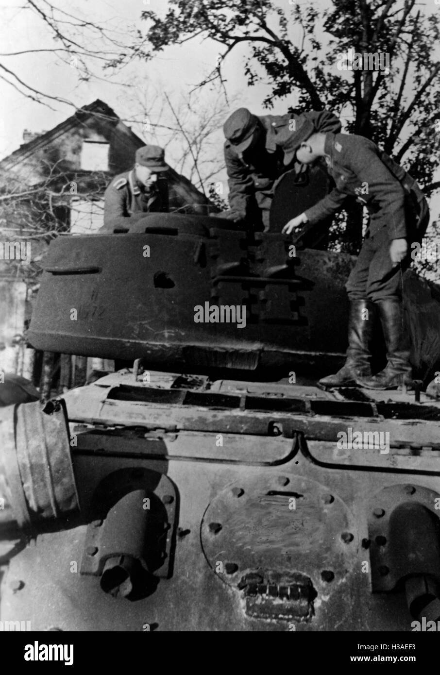 Downed T-34 during the fighting in East Prussia, 1944 Stock Photo