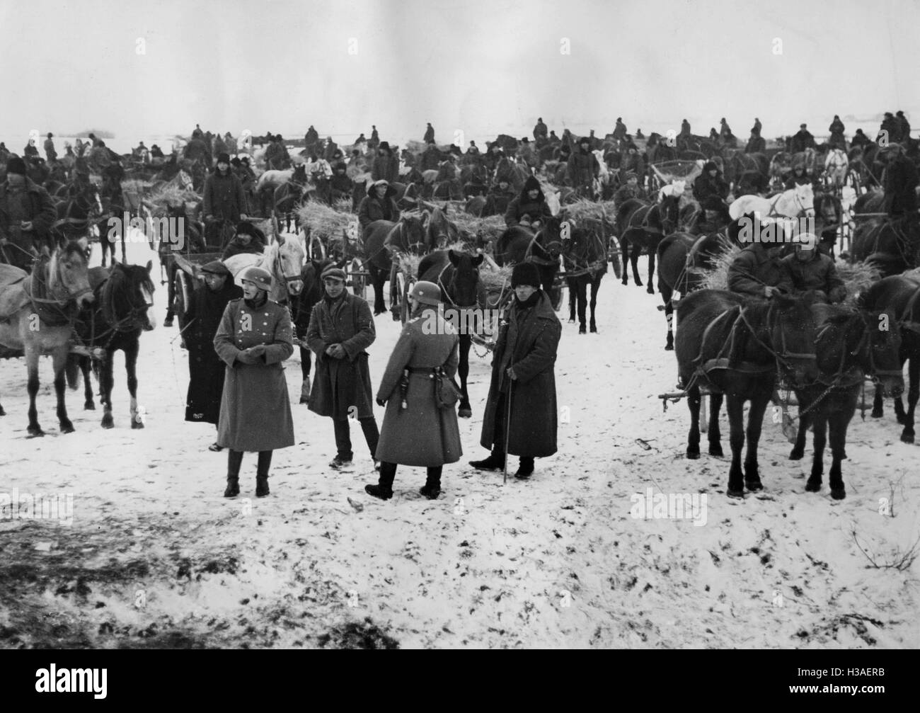Peasant carts and Wehrmacht soldiers assist in the resettlement of the Volhynian Germans, 1939 - Stock Image