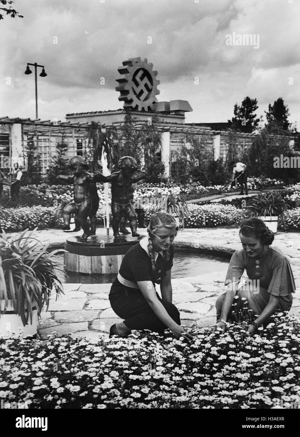 National socialist symbolism at the garden show in berlin 1934 stock image
